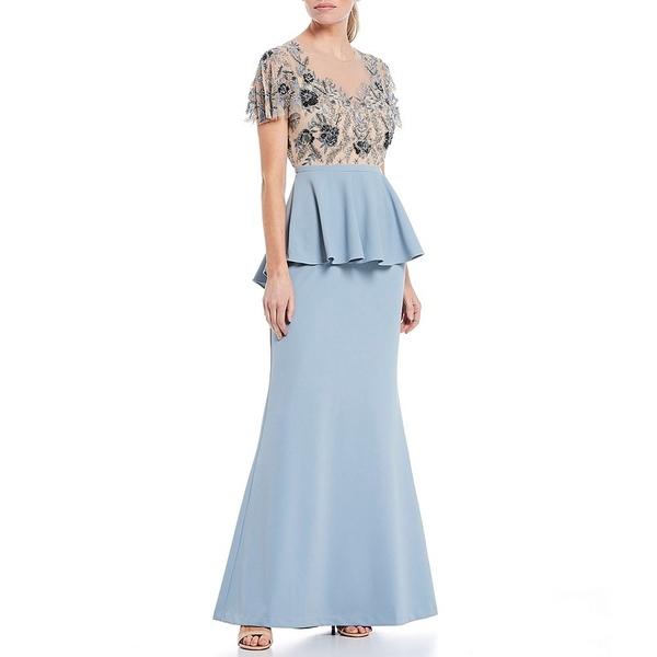 アイダンマットックス レディース ワンピース トップス Illusion Plunge Neckline Short Flutter Sleeve Beaded Bodice Peplum Gown Light Blue