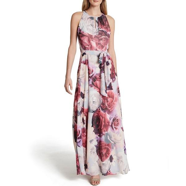 タハリエーエスエル レディース ワンピース トップス Floral Printed Chiffon A-Line Gown Blue/Pink Floral