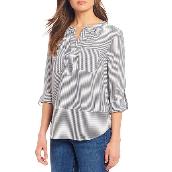 ウェストボンド レディース シャツ トップス Petite Size Roll Tab Sleeve Two Pocket Popover Shirt Black Pinstripe