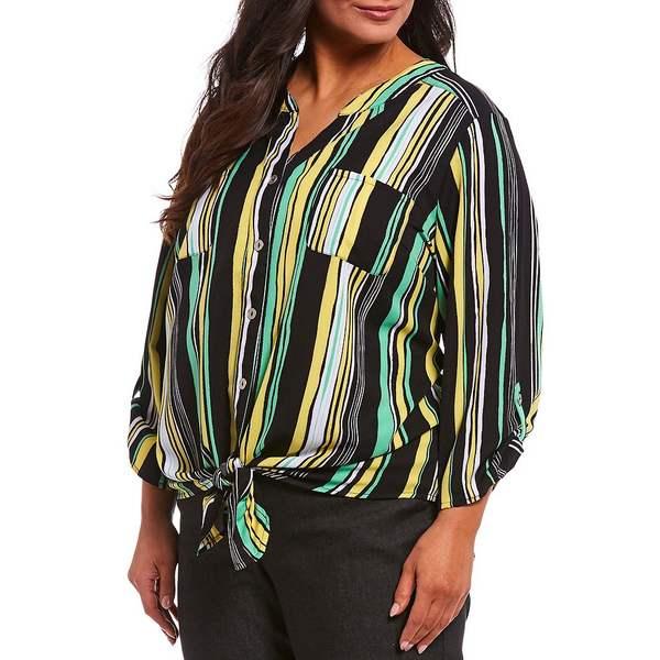 ルビーロード レディース シャツ トップス Plus Size Stripe Print Split V-Neck Roll-Tab Sleeve Button Tie Front Shirt Black Multi