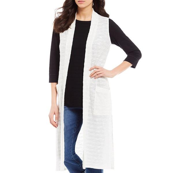 ウェストボンド レディース ジャケット&ブルゾン アウター Two-Pocket Sleeveless Open Front Duster Vest Cream