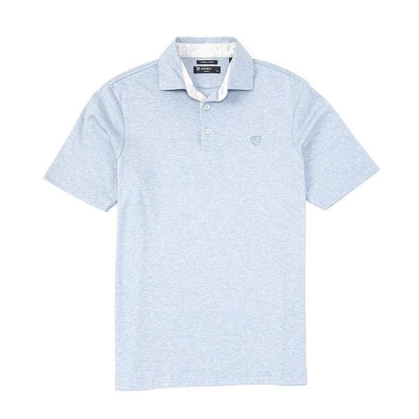 クレミュ メンズ ポロシャツ トップス Supima Cotton Solid Short-Sleeve Polo Shirt Blue Heather