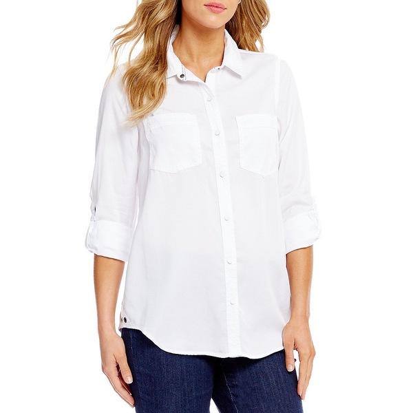 イントロ レディース シャツ トップス Petite Size Roll-Tab Sleeve Button Front Slub Lyocell Shirt Bright White