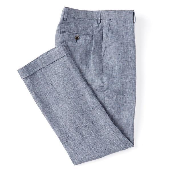 ムラノ メンズ カジュアルパンツ ボトムス Big & Tall Classic-Fit Baird McNutt Linen Dress Pants Blue
