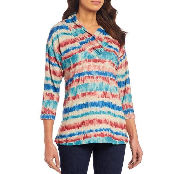 マルチプルズ レディース Tシャツ トップス Petite Size Multi Color Stripe Cowl Wrap Collar 3/4 Sleeve Hi-Low Knit Top Multi Stripe