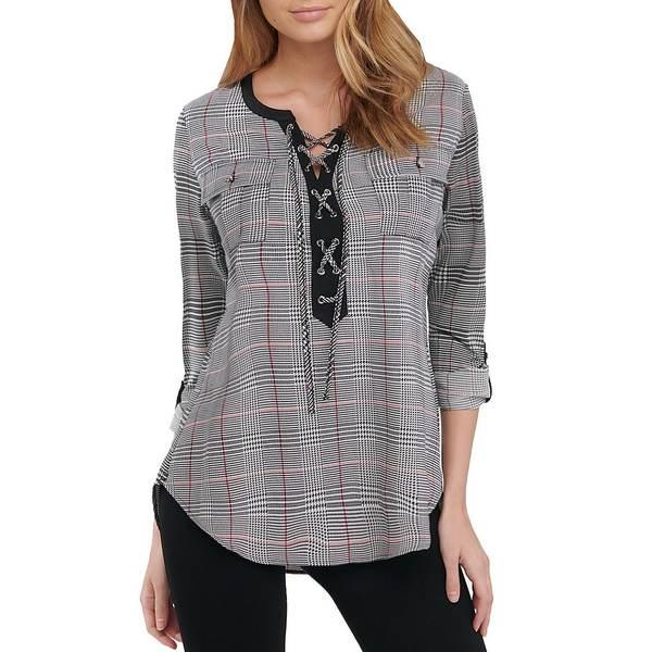 ピーターニガード レディース Tシャツ トップス Petite Size Glen Plaid Lace Up Front Grommets Knit Shirt Black/Glen Plaid