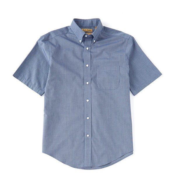 ランドツリーアンドヨーク メンズ シャツ トップス Gold Label Perfect Performance Short-Sleeve Checked Non-Iron Sportshirt Deep Blue