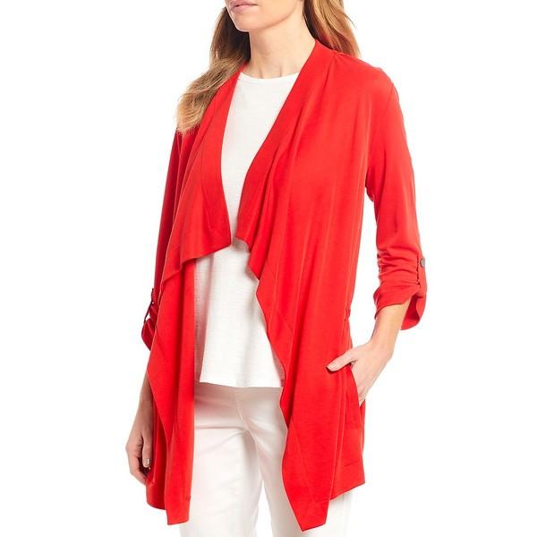 ウェストボンド レディース ジャケット&ブルゾン アウター Cascade 3/4 Sleeve Drape Front Roll-Tab Sleeve Jacket Mars Red