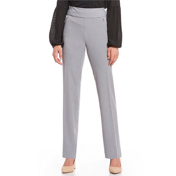 インベストメンツ レディース カジュアルパンツ ボトムス Petite Size the PARK AVE fit Pull-On Straight Leg Pant with Pockets Grey Heather