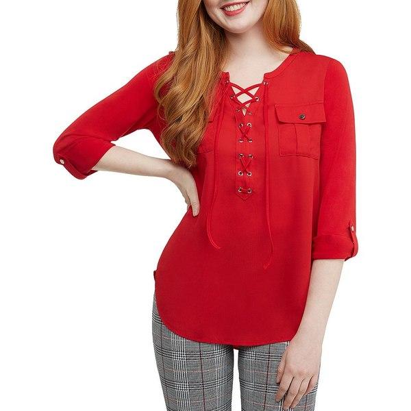 ピーターニガード レディース Tシャツ トップス Petites Mixed Media Shirt Red