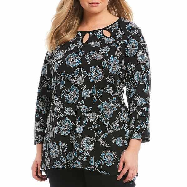 ルビーロード レディース Tシャツ トップス Plus Size Soiree Floral Puff Print Cut-Out Neck Detail 3/4 Sleeve Top Black Multi/Floral