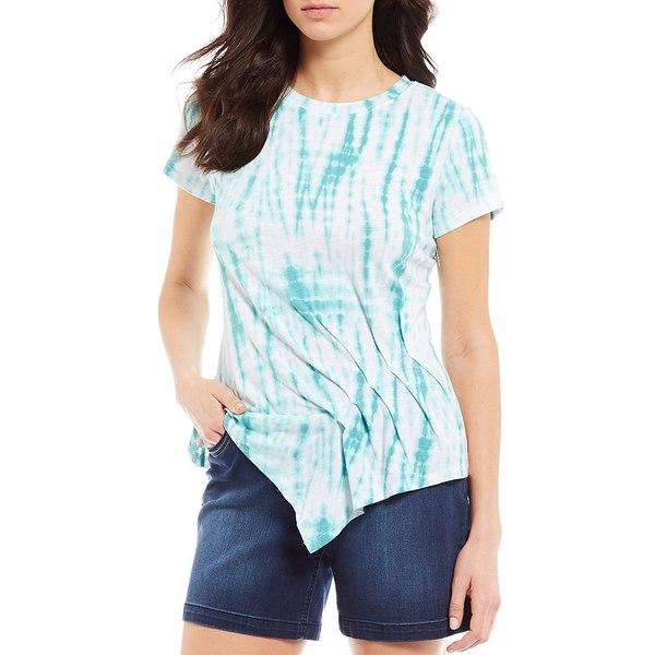 ウェストボンド レディース Tシャツ トップス Petite Size Tie Dye Wave Short Sleeve Asymmetric Pleated Cotton Tee Tie Dye Waves