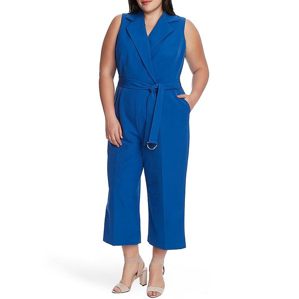 ヴィンスカムート レディース ワンピース トップス Plus Size Sleeveless Belted Wide Leg Crop Jumpsuit Dusk Blue