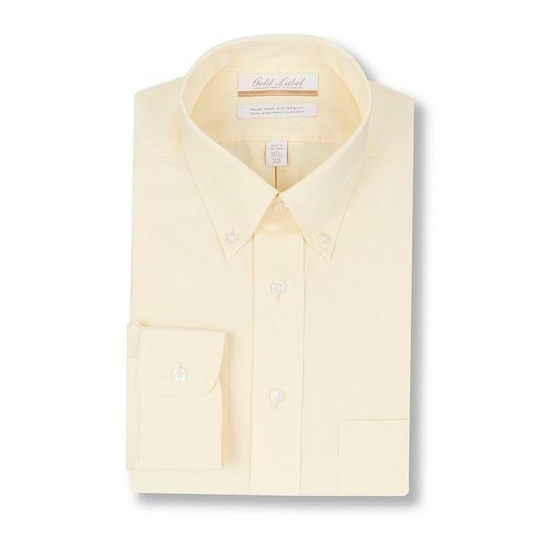 ランドツリーアンドヨーク メンズ シャツ トップス Gold Label Roundtree & Yorke Non-Iron Full-Fit Button-Down Collar Solid Dress Shirt Yellow