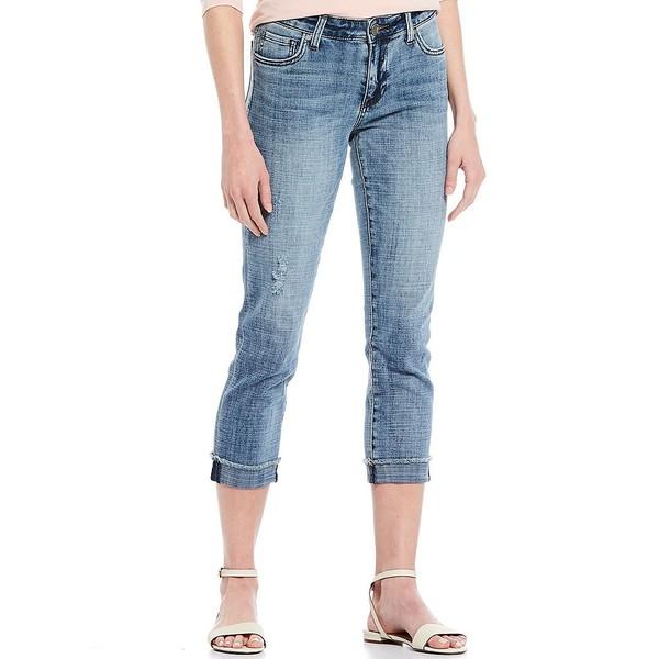 カットフロムザクロス レディース デニムパンツ ボトムス Amy Straight-Leg Destruction Detail Rolled Frayed Hem Crop Jeans Revisit