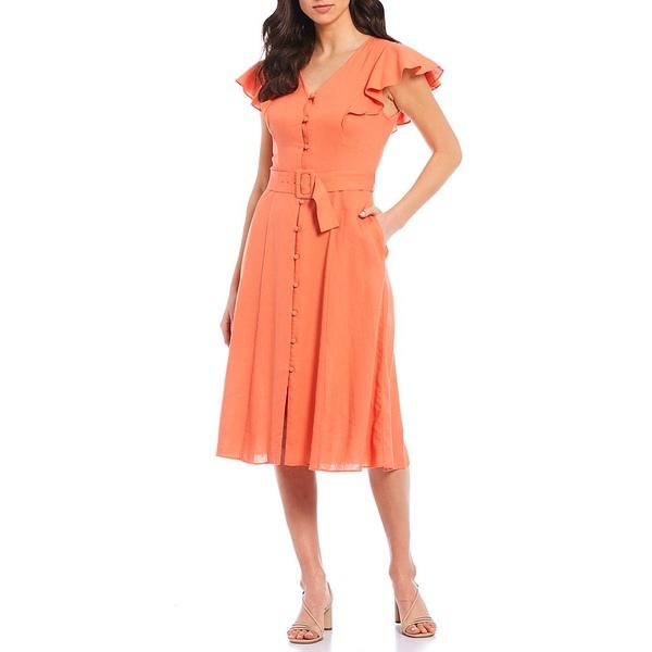 ドナモーガン レディース ワンピース トップス V-Neck Flutter Sleeve Belted Linen Midi Dress Sweet Spice