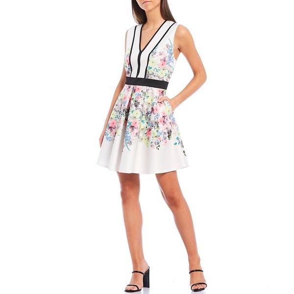 テッドベーカー レディース ワンピース トップス Solarh Pergola Print V-Neck Sleeveless Skater Dress Ivory