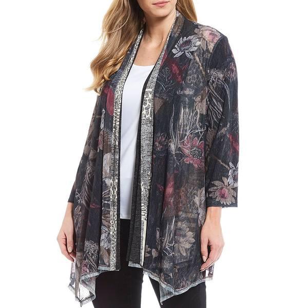 アリ マイルス レディース ニット&セーター アウター Plus Size Jacquard Printed Reversible Knit Cardigan Multi