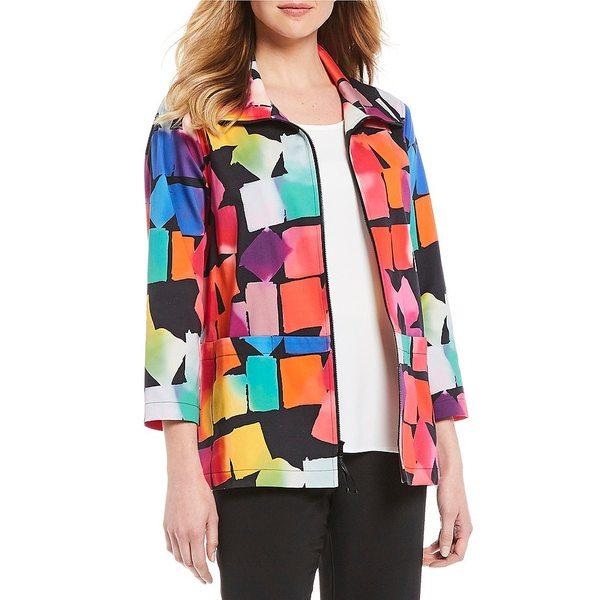 キャロラインローズ レディース ワンピース トップス Kaleidoscope Print Lightweight Stretch Cotton Zip Front Jacket Multi Black