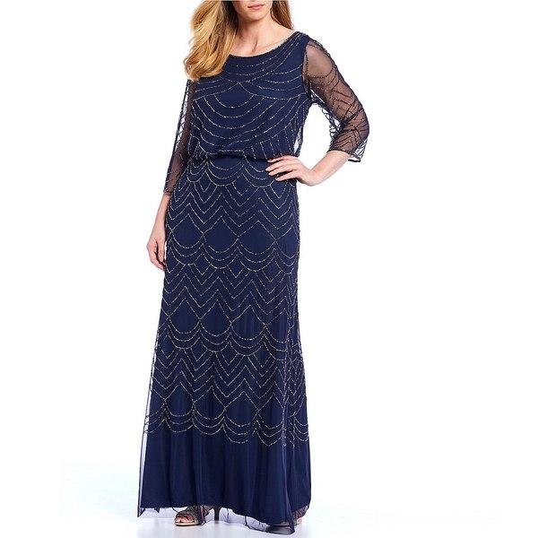 アドリアナ パペル レディース ワンピース トップス Plus Size Beaded Blouson 3/4 Sleeve Gown Navy
