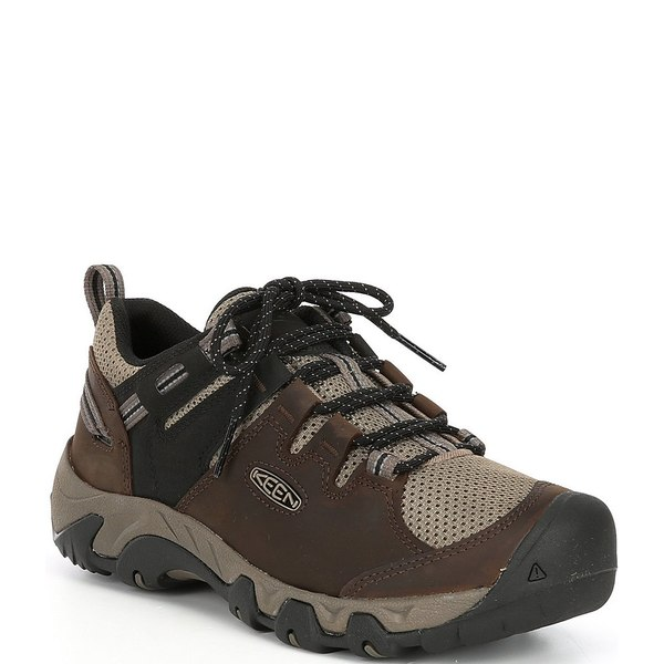 キーン メンズ スニーカー シューズ Men's Steens Vent Leather Low Hiking Shoes Canteen/Brindle