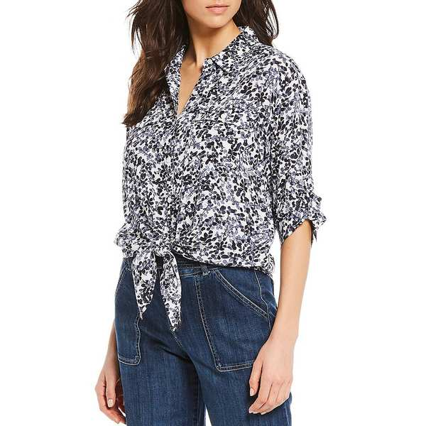 ウェストボンド レディース シャツ トップス Floral Optimist Elbow Roll-Tab Sleeve Tie Front Shirt Floral Optimist
