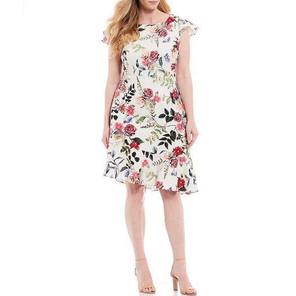 アドリアナ パペル レディース ワンピース トップス Plus Size Short Flutter Sleeve Asymmetric Flounce Hem Floral Print Dress Ivory Multi