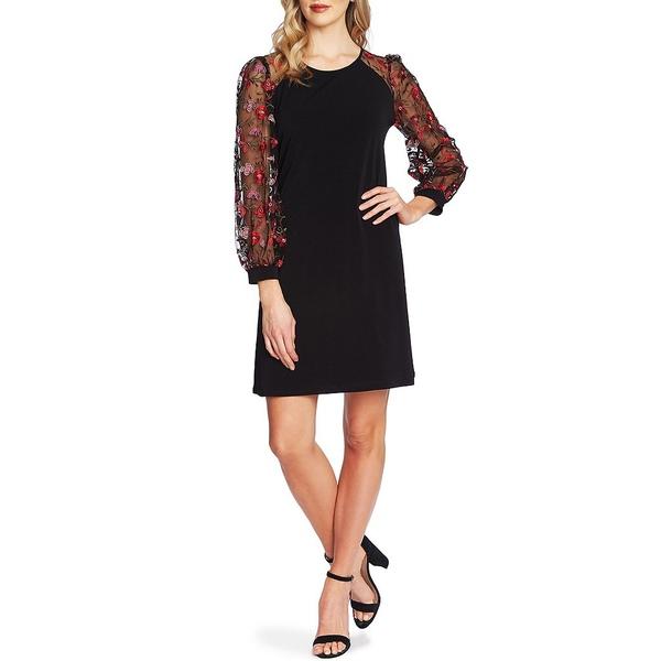セセ レディース ワンピース トップス 3/4 Puffed Sleeve Floral Embroidered Shift Dress Rich Black