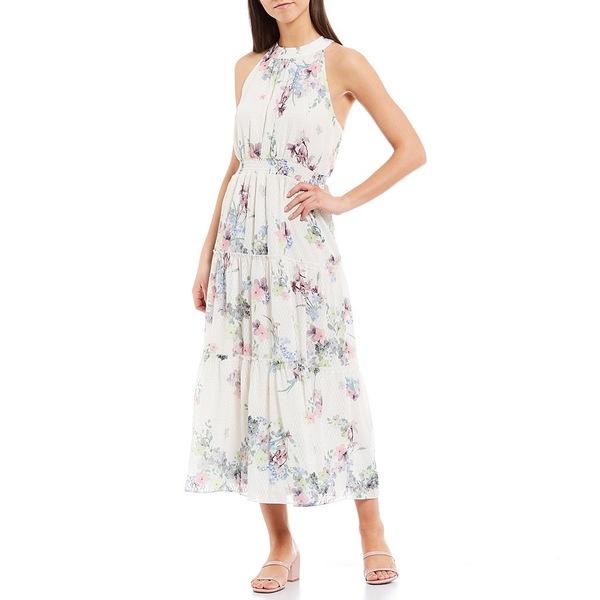 テッドベーカー レディース ワンピース トップス Kahlay Pergola Floral Print Halter Neck Sleeveless Tiered Maxi Dress Ivory
