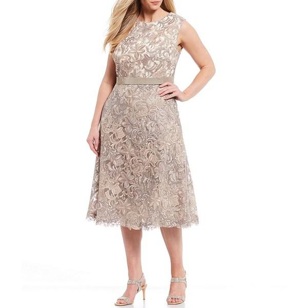 タダシショージ レディース ワンピース トップス Plus Size Patterned Lace Overlay Midi Dress Latte/Plum