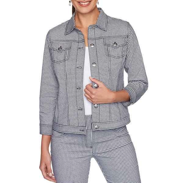 ルビーロード レディース ジャケット&ブルゾン アウター Petite Size Gingham Print 3/4 Sleeve Button Front Jacket Black/White
