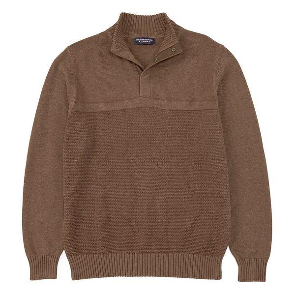 ランドツリーアンドヨーク メンズ ニット&セーター アウター Mock-Snap Suede Textured Sweater Rust Heather