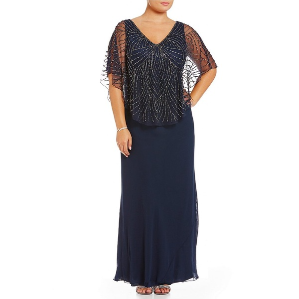 ジェイカラ レディース ワンピース トップス Plus V-Neck Beaded Bodice Capelet Gown Navy/Shaded/Mercury