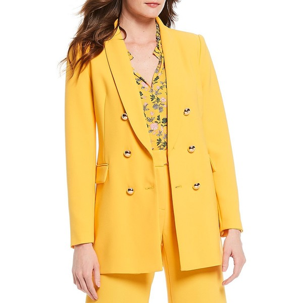 ティー・タハリ レディース ジャケット&ブルゾン アウター Long Sleeve Shawl Collar Double Breasted Jacket With Flap Pockets Sun Porch