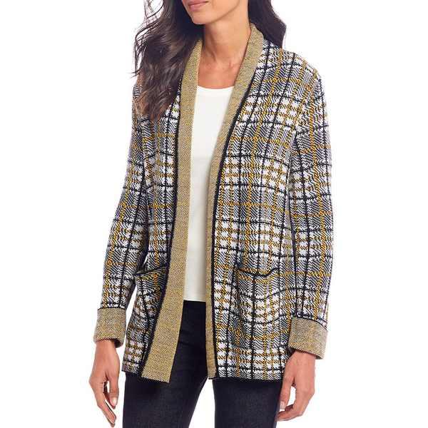 ルビーロード レディース ニット&セーター アウター Petite Size Plaid Knit Jacquard Open Front Sweater Cardigan Multi