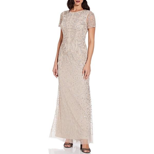 アドリアナ パペル レディース ワンピース トップス Beaded Mesh Illusion Short Sleeve Gown Biscotti