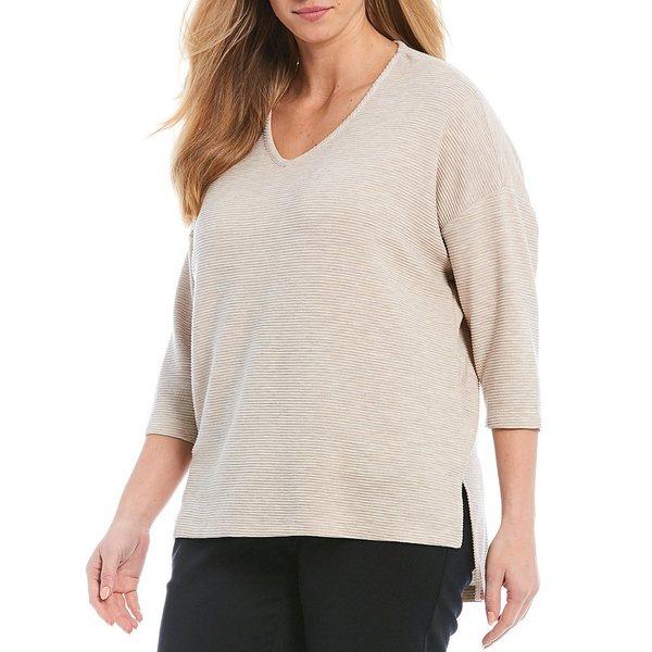 ジョーンズニューヨーク レディース ニット&セーター アウター Plus Size Soft V-Neck Hi-Low Ottoman Knit Sweater Top Hi Twist Ottoman Pebble Heather