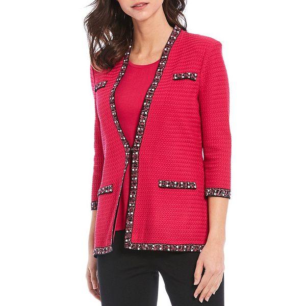 ミソーク レディース ジャケット&ブルゾン アウター 3/4 Sleeve Faux Pearl Trim Textured Knit Jacket Rhubarb/Black
