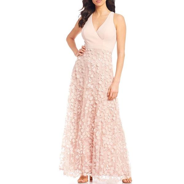 エスケープ レディース ワンピース トップス Hatler Surplice V-Neck 3D Flower Front Slit Gown Blush