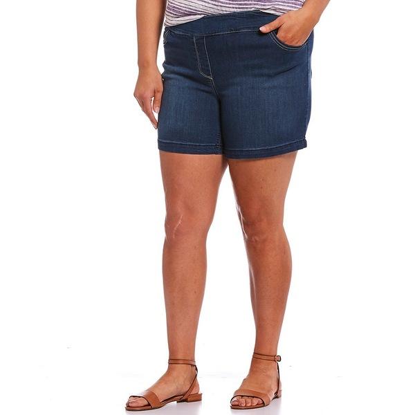ウェストボンド レディース カジュアルパンツ ボトムス Plus Size the PARK AVE fit Pull-On Shorts Blue Indigo