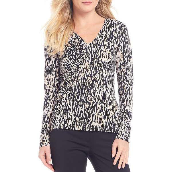 ダナキャラン レディース Tシャツ トップス New York Leopard Printed Side Ruched V-Neck Top Camel Combo