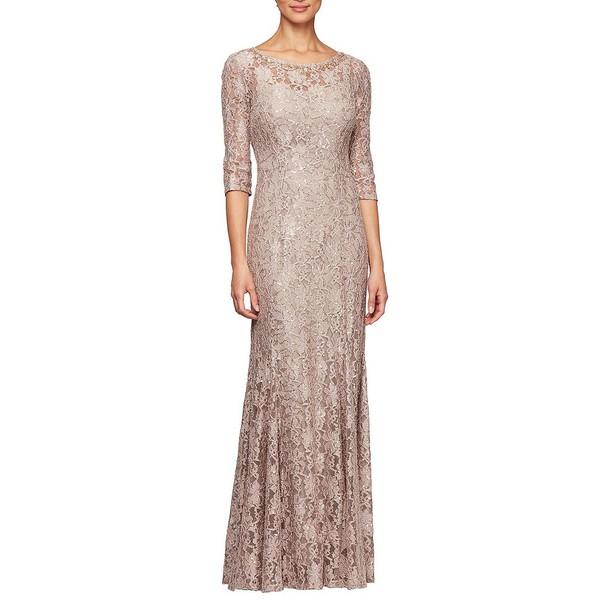 アレックスイブニングス レディース ワンピース トップス Sequin Lace 3/4 Sleeve Long Gown Taupe