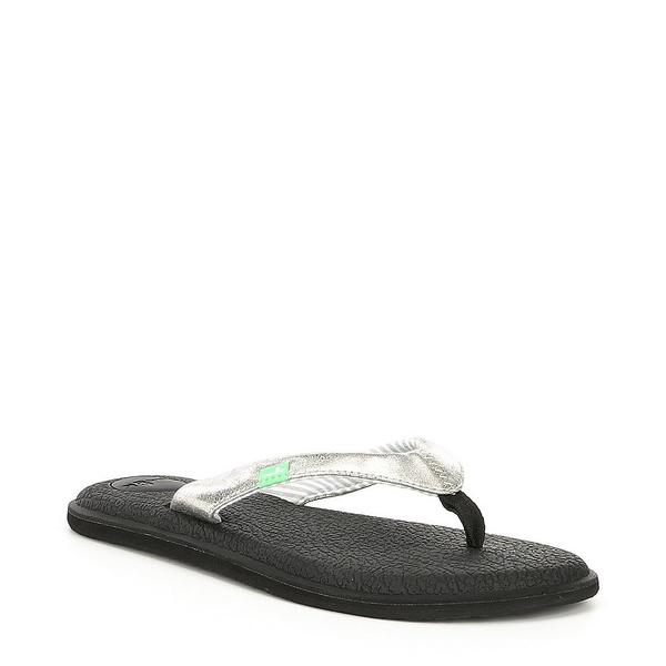 サヌーク レディース サンダル シューズ Women's Yoga Chakra Metallic Flip Flops Silver