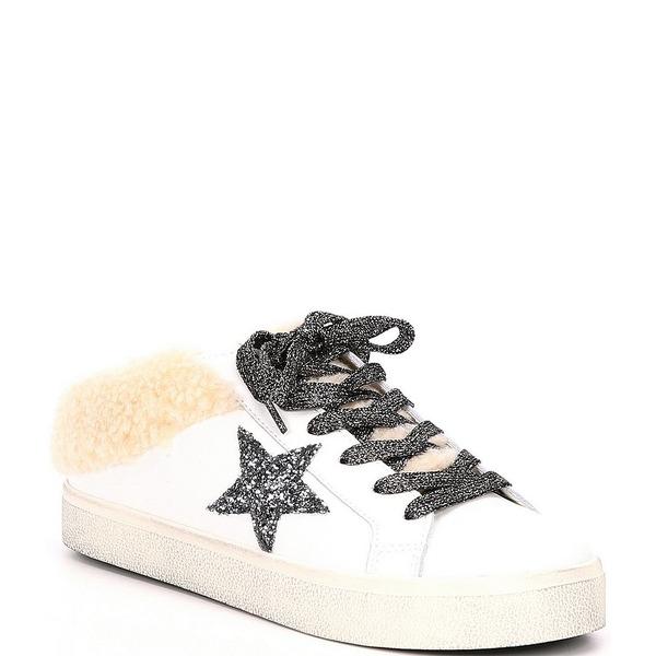 スティーブ マデン レディース スニーカー シューズ Polaris Leather Faux Fur Lined Star Sneakers White/Natural