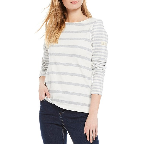 ジュールズ レディース Tシャツ トップス Harbour Stripe Cotton Knit Jersey Round Neck Long Sleeve Top Cream/Grey Stripe
