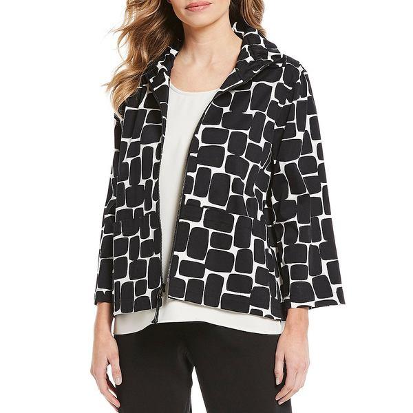 キャロラインローズ レディース ジャケット&ブルゾン アウター Ruched Collar Stretch Cotton 3/4 Sleeve Jacket Black/White
