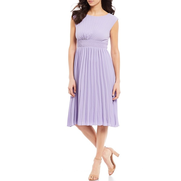 マギーロンドン レディース ワンピース トップス Pleated Shirred Waist Sunburst Catalina Crepe Dress Lavender