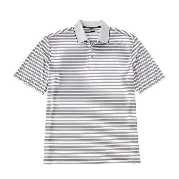 ランドツリーアンドヨーク メンズ ポロシャツ トップス Performance Short-Sleeve Striped Polo Caviar