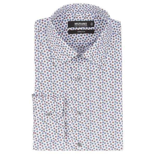 ムラノ メンズ シャツ トップス Slim-Fit Spread Collar Starburst Print Dress Shirt Red Multi