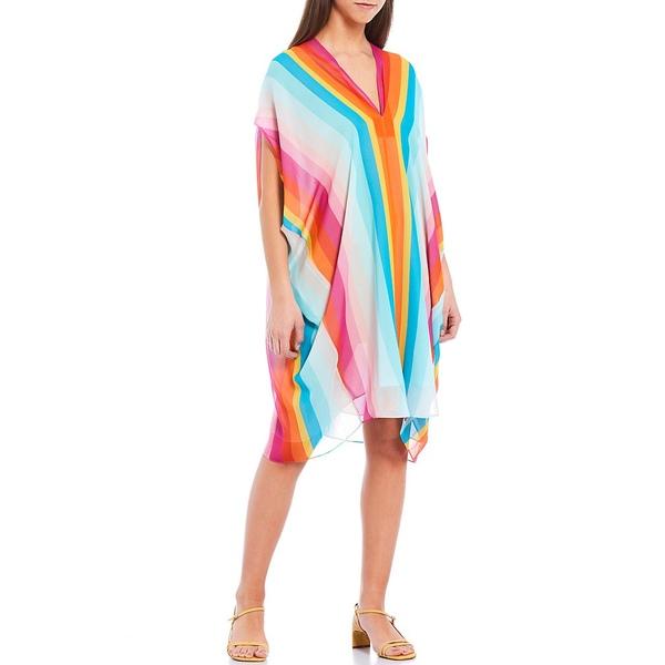 トリーナターク レディース ワンピース トップス Getaway Stripe V-Neck 3/4 Sleeve Silk Caftan Dress Multi